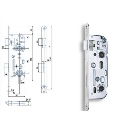 Zimmertür-Einsteckschloss 90 / 40mm WC- und Badtüren
