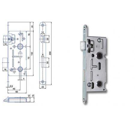 Zimmertür-Einsteckschloss 72 / 40mm WC- und Badtüren