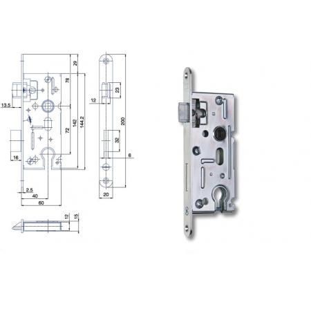 Zimmertür-Einsteckschloss 72 / 40mm Profilzylinder PZ