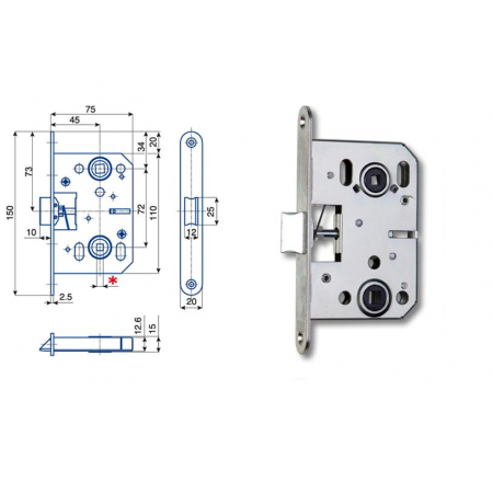 Zimmertür-Einsteckschloss 72 / 45mm WC- und Badtüren